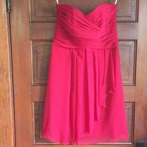 David's Bridal red strapless cocktail dress